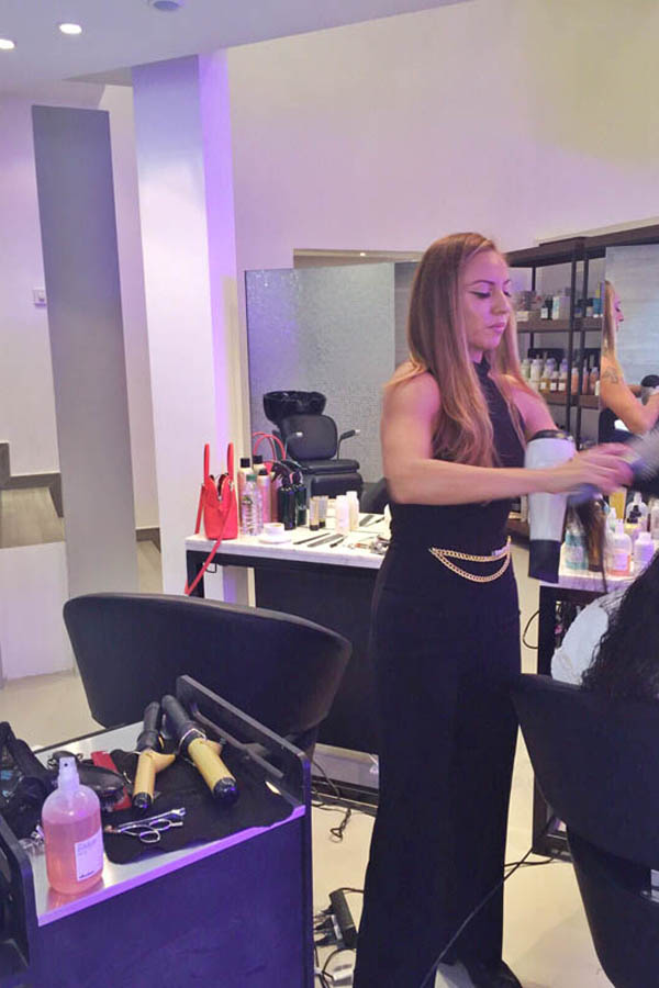 LA Celebrity Hairstylist Jennifer Yepez working her magic at Purple Patchouli
